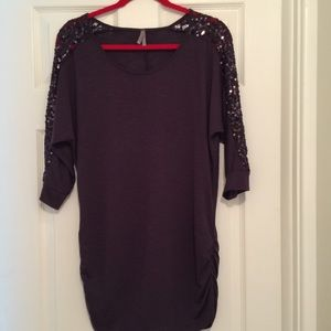 Vanity sequin and lace tunic top
